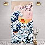 Tapiz de Pared Colgante de Kanagawa Japonés Banner de Puerta de Foto de Gran Ola Fondo de Naturaleza de Arte de Flor de Cerezo Puesta de Sol para Adorno de Hogar Fiesta Japonesa, 6 x 3 F