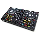 Numark Party Mix - Controlador de DJ plug-and-play de 2 canales para Serato DJ Lite con tarjeta de sonido incorporada, controles de pad, crossfader, jogwheels, salida auriculares y luces de fiesta