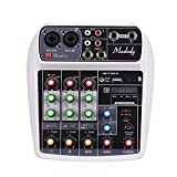 Muslady Consola de Mezcla Tarjeta de Sonido Compacta Mezclador de Audio Digital Entrada de 4 Canales BT MP3 USB + 48V Potencia Fantasma para Grabación de Música Red de DJ Transmisión en Vivo Karaok