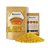 Bienenbiya® 200 g Pastillas de cera de abejas 100% pura sin aditivos, de cera de abejas orgánica natural para ungüentos, cosméticos, jabones, toallas de cera de abejas